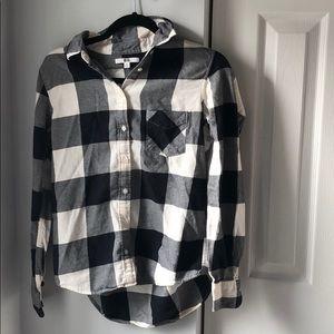Uniqlo checked pocket black and white flannel- S